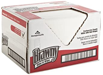 """Brawny Dine-A-Wipe 29414 Red and White Foodservice Busing Towel, Carded Rayon 1/4 Fold, 21.5"""" Length x 14"""" Width, Case of 160"""