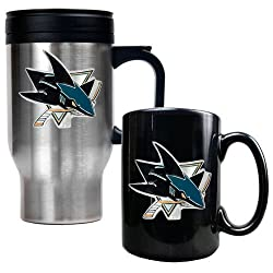 San Jose Sharks NHL Stainless Steel Travel Mug & Black Ceramic Mug Set - Primary Logo
