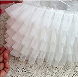 Ivory Ruffled Lace Trim , Pleated Trim Lace for Wedding Dress Doll Dress Wedding Cake Decor (White)
