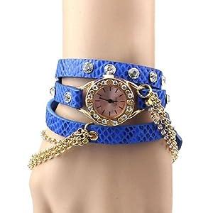 Amtonseeshop Best Price Leather Bracelet Rhinestone Rivet Chain Quartz Wrist Watch for Woman Girl (Blue)