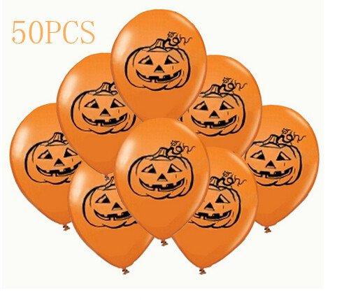 "iBUY365 Pack of 50pcs 11"" Halloween Pumpkin Balloons"