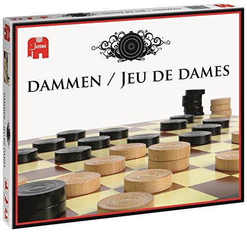 Jumbo Dammen / Jeu de Dames - Juego de tablero (Negro, Color blanco, 340 x 260 x 50 mm, 510g, 34 cm)