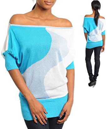 G2 Fashion Square Open Shoulder Short Sleeves Sweater Tunic Top(TOP-CAS,BLU-S)