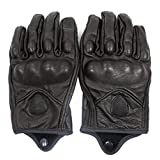 FXC Full Finger Motorcycle Leather Gloves Men's Premium Protective Motorbike Gloves (XL, Solid)