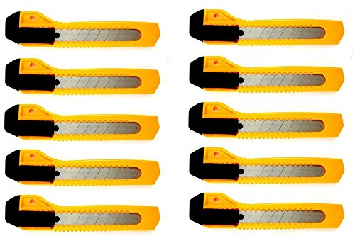 Lot-Of-10-Utility-Knife-Box-Cutter-Snap-Off-Lock-Razor-Blade-Constructor-Tool-Assorted-Colors