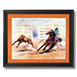 Rodeo Western Cowboy Calf Roping Animal Home Decor Wall Picture Black Framed Art Print