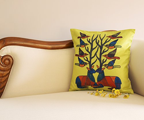 Deer & Antlers Throw Pillow / Cushion Cover - SouvNear Throw Pillow Deer Cover 18 x 18 Inch Lime ...