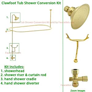 Polished Brass Clawfoot Tub Shower Conversion Kit With Enclosure Curtain Rod 10010pb Shower