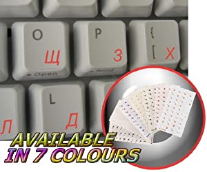 Russian Cyrillic Keyboard Sticker with Blue Lettering ON Transparent Background is Compatible with Apple