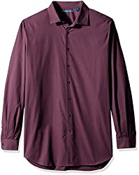 Perry Ellis Men's Big and Tall Textured Print Shirt, Midnight Plum, Tall/Large