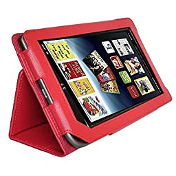 Image® Full Screen Touchable Leather Cover Case for Barnes and Noble Nook Tablet Nook Color with Stand Red