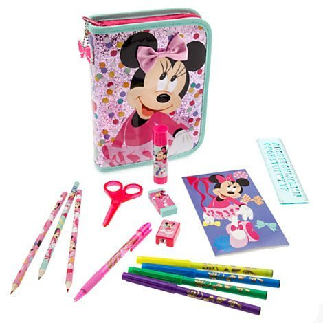 Disney Store Minnie Mouse Glitter Zip-up Stationary Art Case Kit School Supplies