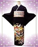 お仕立上がり洗える黒留袖6点セット鶴古典花正倉院紋様