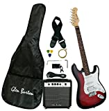 Glen Burton GE101BCO-RDS Stratocaster-Style Electric Guitar Combo with Accessories and Amplifier, Redburst