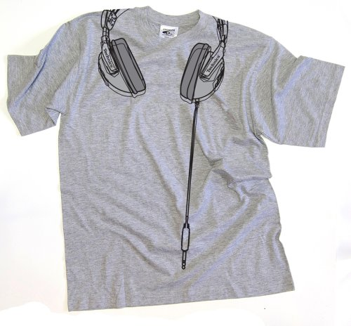 DMC Technics DJ Headphones Mens T-Shirt College Grey T022S Small