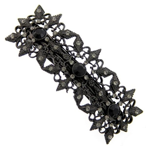 1928 Jewelry Black Points Victorian Crystal Hair Barrette