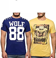 Yo Republic Mens Cotton Tshirt Combo Offer (Pack of 2)(AT-0064-1L_Blue_Yellow_Large)