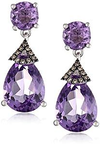 Badgley Mischka Fine Jewelry Sterling Silver, Champagne Diamonds, and Amethyst Earrings