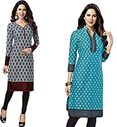 SDM Women's Kurti Printed Cotton Dress Material Unstitched Combo of 2 (122-127 ,Unstitched)