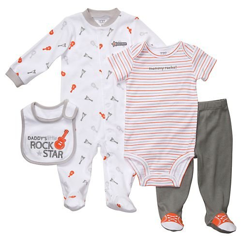 Carter's Rock Star 4-pc. Sleep & Play Set GREY 3 Mo