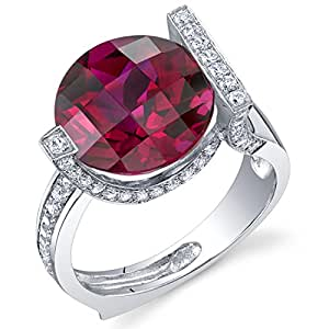 Artistic 7.00 Carats Checkerboard Round Cut Created Ruby Ring in Sterling Silver Rhodium Finish Size 6