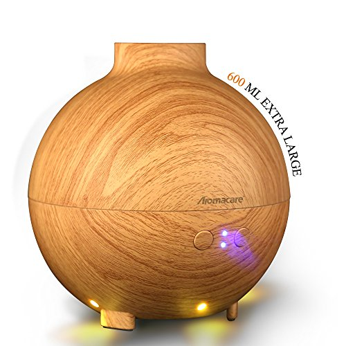 Large Aroma Globe Essential Oil Diffuser with Water 600ML , Aromatherapy Cool Mist Humidifier, Ultra Quiet Ultrasonic Nebulizer, Light Wood Grain, Filter Free, Last Overnight (Spas 12 Gun compare prices)