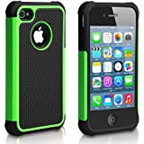 Pasonomi iPhone 4 Case-Premium Heavy Duty Hybrid Shockproof Durable Bumper Armor Cover for Apple iPhone 4S/4(Green)