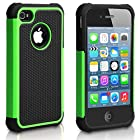 Pasonomi iPhone 4 Case-Premium Heavy Duty Hybrid Shockproof Water Dust Resistant Armor Cover for Apple iPhone 4S/4 (Green)