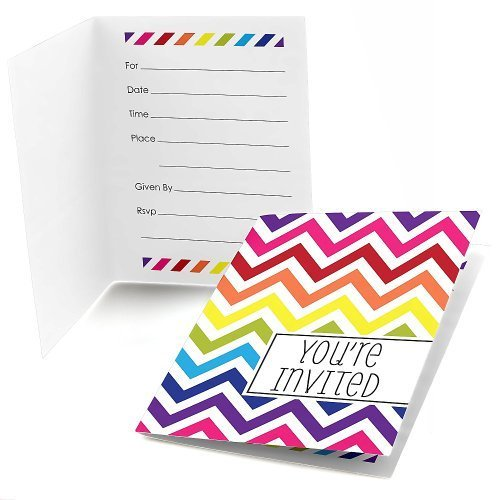 Chevron Rainbow Fill-in Invitations (8 count)