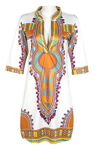 Dh-Apple-Women-Bohemian-V-Neck-Vintage-Printed-Ethnic-Style-Summer-Shift-Dress