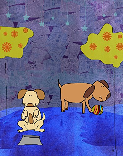 Green Leaf Art Dogs Canvas Art