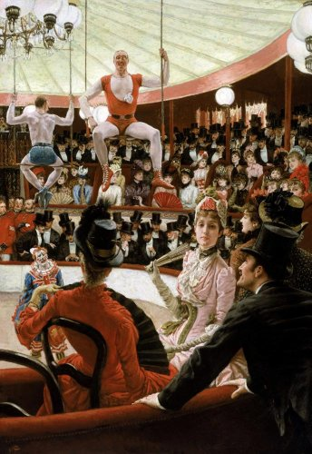 Women Of Paris: The Circus Lover By James Jacques Joseph Tissot Wall Mural - 42 Inches H X 29 Inches W - Peel And Stick Removable Graphic