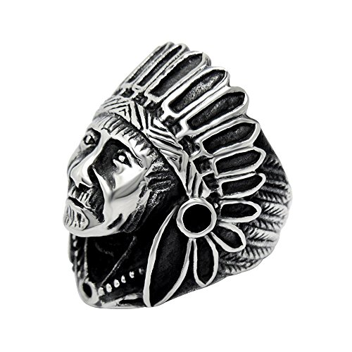 FANSING Jewelry Men's Stainless Steel Indian Chief Rings (Stainless Steel Owl Ring compare prices)