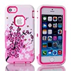 Queens® New 3-piece Peach Blossom Impact Hybrid Combo Hard Case Cover For Apple Iphone 5C With Cearly Screen saver (Hot pink)