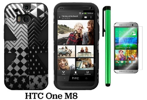 Htc One (M8) Dynamic Slim Hybrid Premium Pretty Design Protector Cover Case + Screen Protector Film + 1 Of New Assorted Color Metal Stylus Touch Screen Pen (Checkered Star Plastic / Black Silicone)