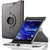 ForeFront Cases® New Google Nexus 7 FHD Rotating Leather Case Cover / Stand For Google Nexus 7 FHD Tablet (7-Inch, 16GB, Black) by ASUS (2013) with Magnetic Auto Sleep Wake Function - BLACK