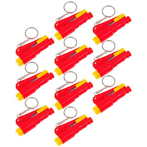 10 Set Life Hammer Car Emergency Tool Emergency Window Breaking Tool Safety Hammer Auto Keychain Belt Car Knife Emergency Rescue Tool Glass Breaker Car Safety Tool Window Broken Tool Seat Belt Cutter Red front-726552