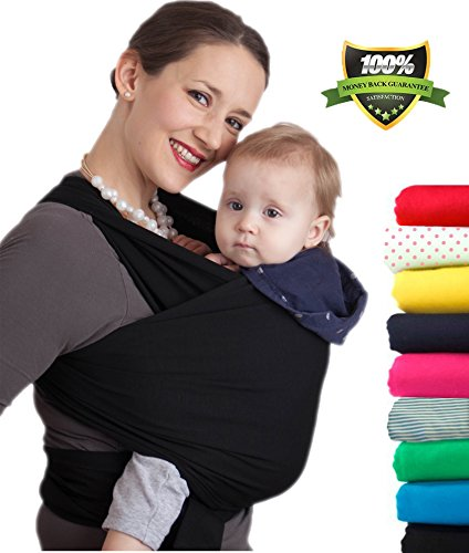 4-in-1 CuddleBug Baby Wrap Carrier | Soft Baby Carrier | Baby Sling Carrier | Postpartum Belt | Nursing Cover | Best Baby Shower Gift (Black)