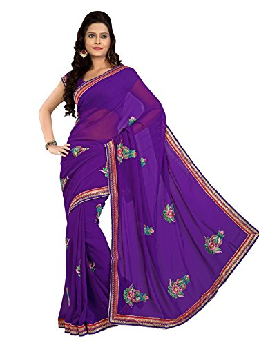 Khazana Bazaar Faux Georgette Saree With Unstitched Blouse Piece