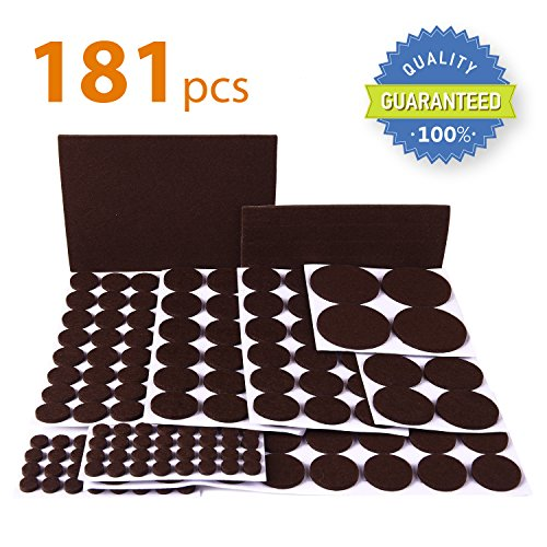 X-PROTECTOR Premium ULTRA LARGE Pack Furniture Pads 181 piece! Felt Pads Furniture Feet ALL SIZES - Your Best Wood Floor Protectors. Protect Your Hardwood & Laminate Flooring with 100% Satisfaction! (Felt Pads To Protect Furniture compare prices)