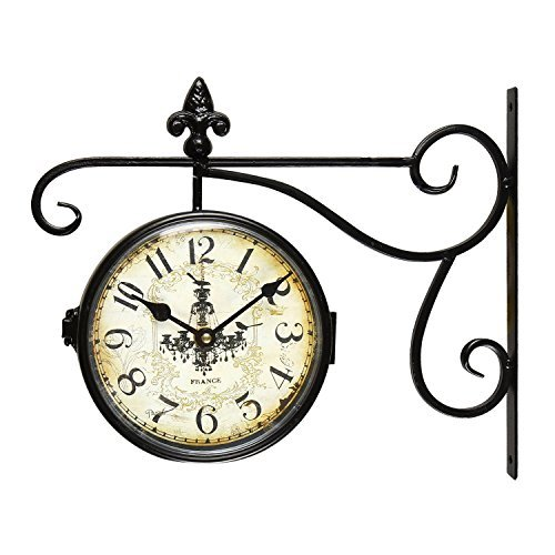 Adeco Black Wrought Iron Vintage-Inspired Train Railway Station style Round Chandelier Double Side Wall Hanging Clock with Scroll Wall Side Mount Home Decor (Vintage Irons compare prices)