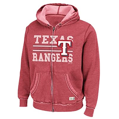 MLB Texas Rangers Proven Winner Full-Zip Hooded Fleece Jacket, Washed Red Heather