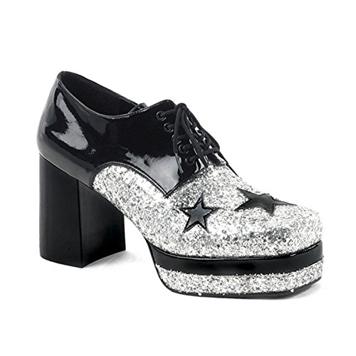 Mens Glitter Shoes 3 1/2 Inch Platform Black Silver Stars Costume MENS SIZING Size: Small