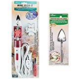 Clover Mini Iron II The Adapter Bundle with Large Iron Tip Adapter - Crafting Tool for Quilting, Sewing, Heat Transfer Vinyl, Scrapbooking, and More (Color: Red and White)