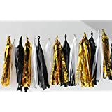 HEARTFEEL 15pcs Black White Gold Mixed Colors Tissue Paper Tassel Garland Bunting for Baby Shower, Bridal Shower, Birthday Party, Nursery Decoration Pom Poms (Color E)