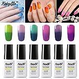 FairyGlo 6 PCS Thermal Color Changing Gel Nail Polish UV LED Soak Off Chameleon Manicure Magic Nail Art Collection Gift Set 8ml 0.27fl.oz C020