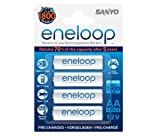 Sanyo Eneloop AA Pre-Charged Rechargeable Batteries, 1800 Cycle (4 Pack)