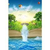 ArtzFolio Magic Opened Book Covered With Grass Trees And Waterfall - Medium Size 12.0 Inch X 18.0 Inch - UNFRAMED...