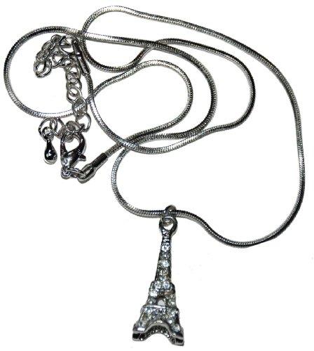 """Crystal 16"""" 3D Eiffel Tower Paris Necklace"""