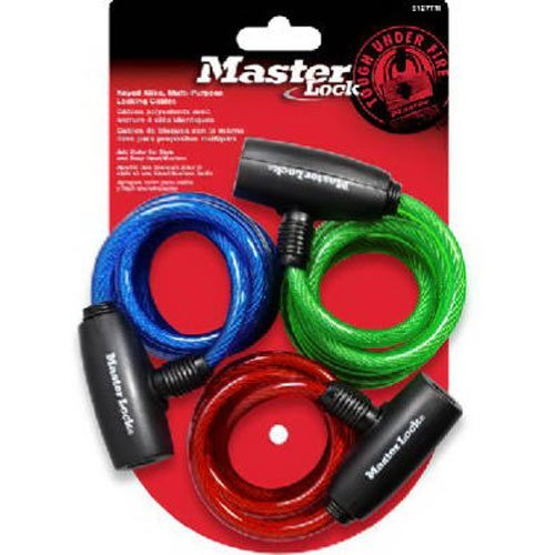 Master Lock 8127TRI Bike Lock/Cable, Blue, Green and Red, 3-Pack (Master Bike Lock compare prices)